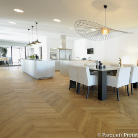 PARQUET CHENE MASSIF 14 mm AUTHENTIQUE POINT DE HONGRIE LARGEUR 65 mm