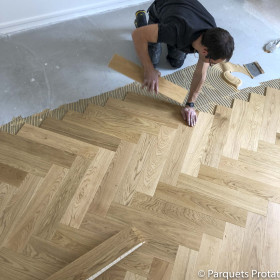 PARQUET CONTRECOLLE CHENE BATON ROMPU 11x120 mm RA parement 4 mm VERNI NATUREL