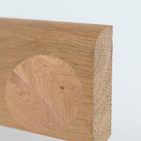 PLINTHE CHENE MASSIF 13 x 70 mm NATURE BORD ARRONDI HUILÉ GRIS BLANC
