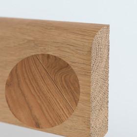 PLINTHE CHENE MASSIF 13 x 70 mm NATURE BORD ARRONDI HUILÉ GRIS METAL