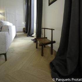 PARQUET CHENE MASSIF 23 mm PRESTIGE POINT DE HONGRIE LARGEUR 65 mm