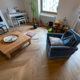 PARQUET CONTRECOLLE CHENE POINT DE HONGRIE 11x100 mm RA parement 4 mm GO0 VERNI NATUREL