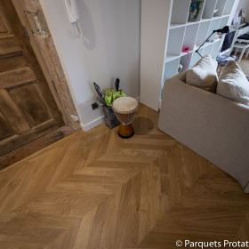 PARQUET CHENE MASSIF 14 mm AUTHENTIQUE POINT DE HONGRIE LARGEUR 125 mm