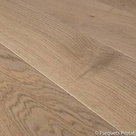 PARQUET CHENE MASSIF 20 x 130 mm CARACTERE PONCE VITRIFIE BLANC